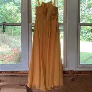 Dusty yellow (gold) Azazie bridesmaid dress